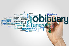 Obituary word cloud. Concept on grey background Stock Images