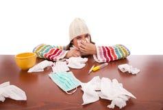 objaw grypowa kobieta fotografia stock
