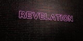OBJAWIENIE - Realistyczny Neonowy znak na ściana z cegieł tle - 3D odpłacający się królewskość bezpłatny akcyjny wizerunek royalty ilustracja
