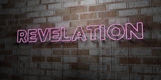 OBJAWIENIE - Rozjarzony Neonowy znak na kamieniarki ścianie - 3D odpłacająca się królewskości bezpłatna akcyjna ilustracja royalty ilustracja