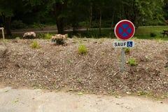 objazdy wskazówkę czerwonych stopu wstążek ostro znak ruchu drewna Prohibicja znak przerwa i parking na wiejskiej drodze Metalu d Obraz Stock