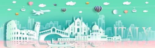 Objeżdża Italy punktów zwrotnych Europa sławnego śródmieście gondolą, szybko się zwiększać, hebluje, ilustracja wektor
