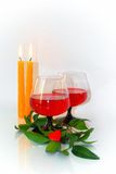 with wine, candles and a small heart Stock Photography