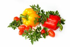 Pepper, parsley and tomatoes. Still-life with pepper, parsley and tomatoes Stock Photo