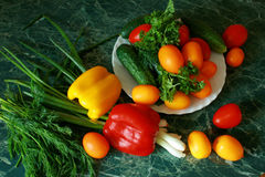 Vegetables and greens. Still-life with vegetables and greens Royalty Free Stock Image