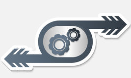Object with arrow and cogwheels Stock Images