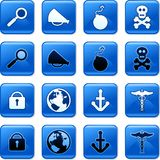 Object buttons. Collection of blue square everyday object rollover buttons Royalty Free Stock Images