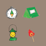 Object camping equipment cartoon drawing Stock Photography