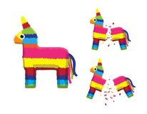 Pink Pinata Horse Breaking Animation Sequence Cartoon Vector Illustration. Object Cartoon EPS10 File Format