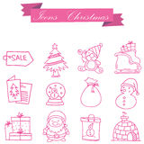 Object Christmas set icons collection Stock Photography