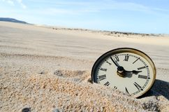 Object in the Dry Desert. Conceptual Photo Picture of an Alarm Clock Object in the Dry Desert royalty free stock image
