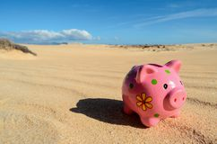 Object in the Dry Desert. Conceptual Photo Picture of a Piggy Bank, Object in the Dry Desert royalty free stock photo