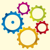 Object-gear (vector). Group of five gears (vector) in different colors vector illustration