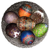Object isolated easter decor eggs. Holidays colorful delicate wicker Royalty Free Stock Images