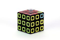 The Rubik`s cube on the white background. The solution sequence nine. The object is isolated on white and a clipping path is provided for easy extraction royalty free stock images