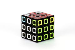 The Rubik`s cube on the white background. The solution sequence seven. The object is isolated on white and a clipping path is provided for easy extraction Royalty Free Stock Photography