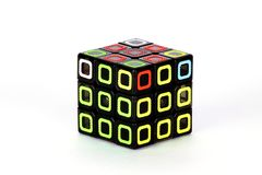 The Rubik`s cube on the white background. The solution sequence stage eight. The object is isolated on white and a clipping path is provided for easy extraction Royalty Free Stock Images