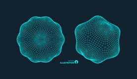 Object with lines and dots. Molecular grid. 3d technology style with particle. Vector illustration. Futuristic connection structure for chemistry and science stock illustration