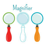Object magnifier. Different designs, flat line. Royalty Free Stock Photography