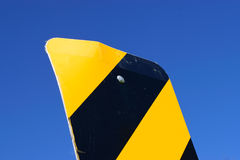 Object Marker Sign with Blue Sky Background. Sign warning of bridge ahead stock photography