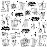 Object music doodles set Royalty Free Stock Image