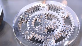 Object printed on metal 3d printer close-up. Object printed in laser sintering machine. Modern 3D printer printing from metal powder. Concept progressive stock video footage