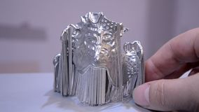Object printed on metal 3d printer. Dental crowns printed in laser sintering machine. Modern 3D printer printing from metal powder. Concept progressive stock video footage