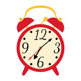 Object red retro alarm clock. The flat design. Stock Images