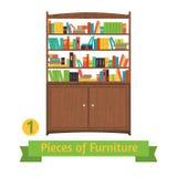 Object retro bookcase, flat design Stock Images
