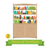 Object retro bookcase, flat design Royalty Free Stock Photography