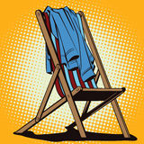 Object in retro style. Beach chaise longue with abandoned clothe. Stock illustration. Object in retro style pop art and vintage advertising. Beach chaise longue Stock Image