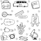 Object school doodles collection stock. Illustration Royalty Free Stock Photography