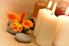 Object for the spa with candle Stock Image