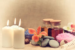 Object for the spa with candle Stock Photos