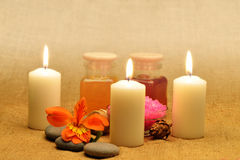 Object for the spa with candle Royalty Free Stock Image