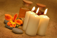 Object for the spa with candle Stock Photography