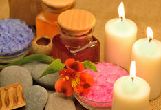 Object for the spa with candle Stock Photo