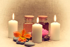 Object for the spa with candle. Retro toned Royalty Free Stock Photography