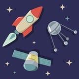 Object of space. Rocket sputnik satellite vector illustration