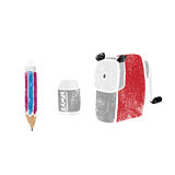 Object stationery pencil sharpener eraser stamp Royalty Free Stock Photos