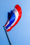 Object Thai flag look like butterfly. In blue sky background stock photo