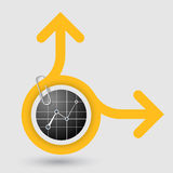 Object with two arrows and graph Stock Photography