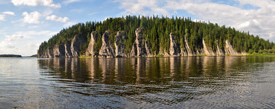 The object of UNESCO world heritage site Virgin Komi forests. Panorama of the taiga river in the national Park Yugyd VA Stock Image