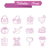 Object valentine day icons collection Stock Photos
