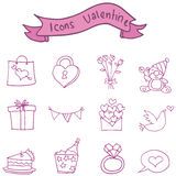 Object valentine day icons collection Royalty Free Stock Photo