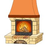 Object on white background vector. A brick fireplace burns a tree. Works and heats. The background is red. Object on white background vector illustration. A Royalty Free Stock Photos