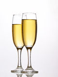 Object on white - champagne glasses close up Stock Images