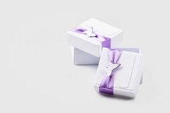 Object. White gift boxes isolated on white Royalty Free Stock Photography