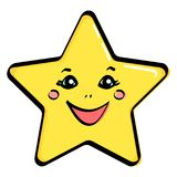Object, yellow star with a face. Vector. Illustration Stock Photos