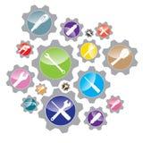 Objecten hulpmiddel en Moersleutel met het ontwerp van het Schroevedraaiersymbool Het ontwerp van het hulpmiddelpictogram Het ont Stock Afbeelding